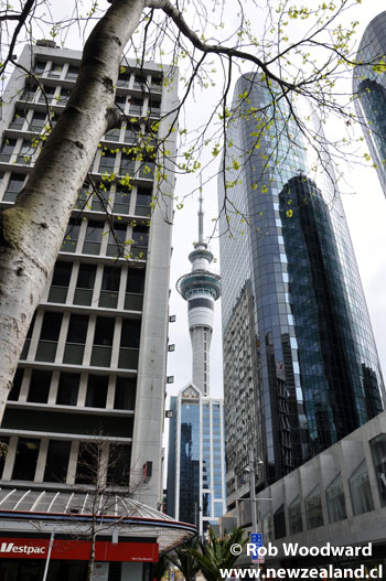 Edificios Altos y Sky Tower en Auckland